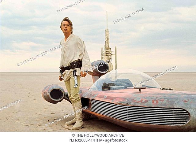 Mark Hamill with landspeeder in Tunisia in Star Wars Episode IV: A New Hope (1977)
