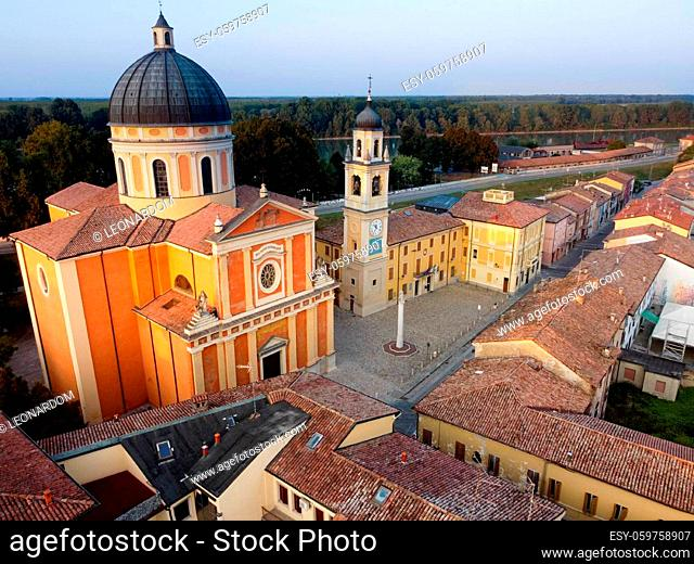 Aerial view of Boretto cathedral , Emilia Romagna. Italy. High quality photo