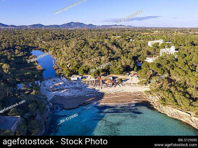 Caló d'en Garrot, Mondragó nature park Park, near Santanyi, aerial view, Migjorn region, Mediterranean Sea, Majorca, Balearic Islands, Spain, Europe