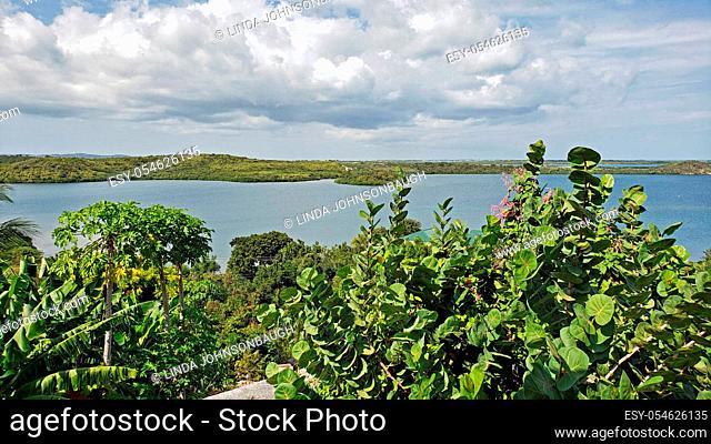Overlooking Mercer Creek Bay from Seatons, Antigua Barbuda Lesser Antilles, West Indies, Caribbean