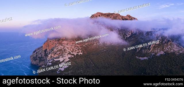 Aerial View, Mount Candina, Liendo, Liendo Valley, Montaña Oriental Costera, Cantabrian Sea, Cantabria, Spain, Europe