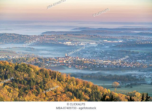 Hechingen, Baden-Württemberg, Germany. First lights of the day on the town
