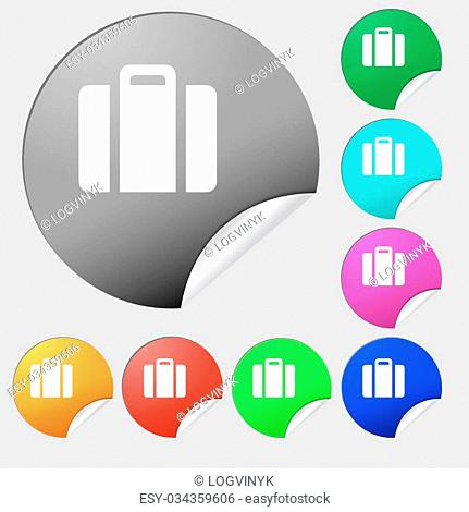 suitcase icon sign. Set of eight multi colored round buttons, stickers. Vector illustration