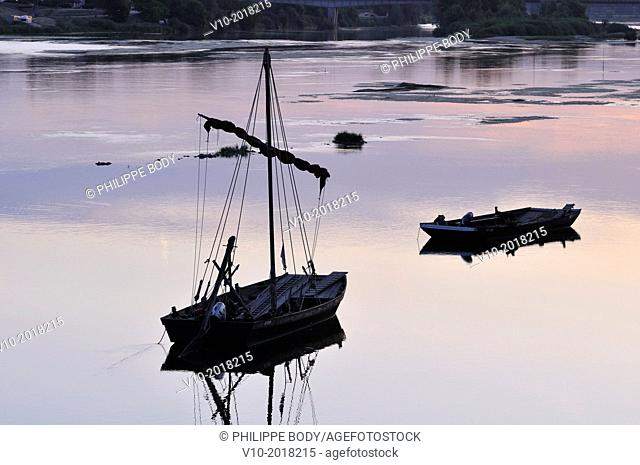 France, Loir et Cher, Loire Valley, listed as a World heritage site by UNESCO, Chaumont-sur-Loire, traditionnal boat on the Loire river
