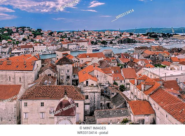 Aerial view of city rooftops and river, Trogir, Split, Croatia