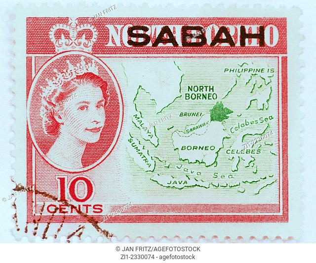 old stamp from sabah as a english colony