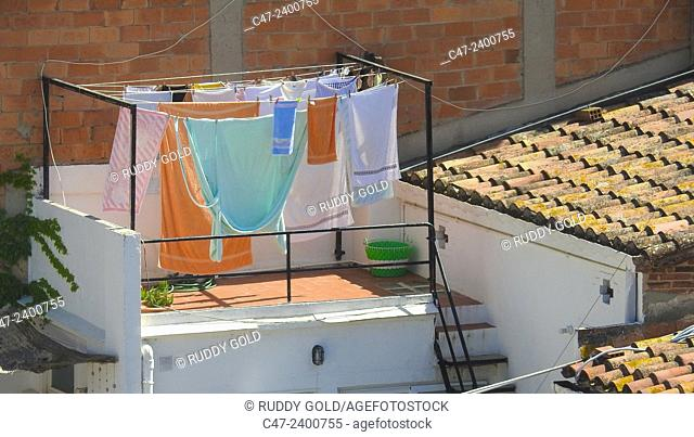 Hanging clothes for drying. Barcelona. Spain