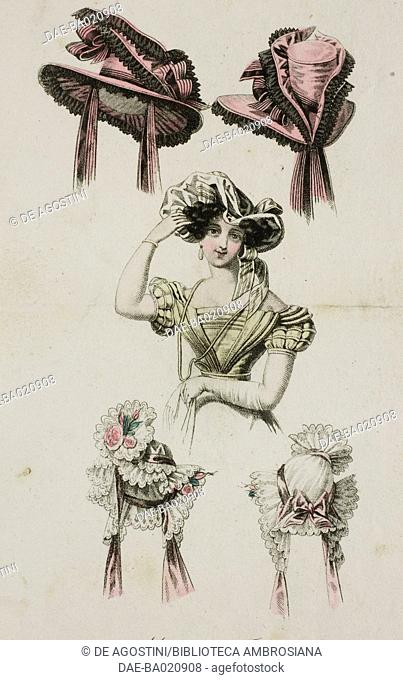 Woman wearing a muted-coloured hat and other lady hat designs, one in lace with ribbons and adorned with flowers, and the other pink with black lace sectiona