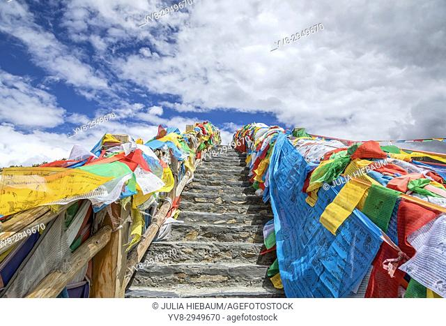 Colorful prayer flags in Tibet, China