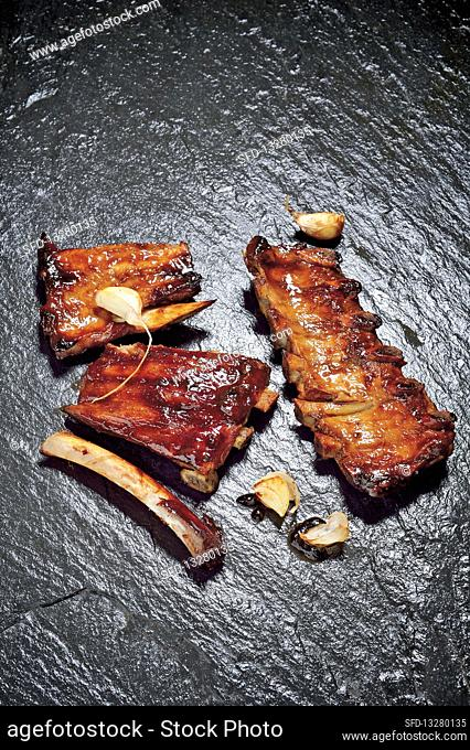 Baby back ribs with spicy stout BBQ sauce