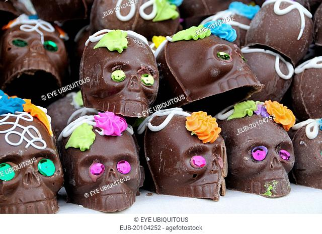 Decorated chocolate skulls for Dia de los Muertos or Day of the Dead festivities