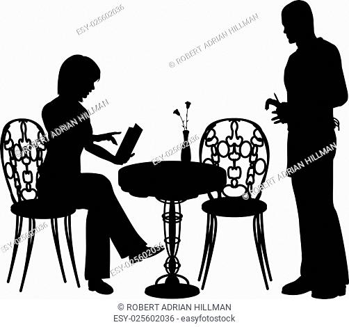 Editable vector silhouette of a woman ordering food and drink from a waiter at a cafe or restaurant with all objects as separate elements