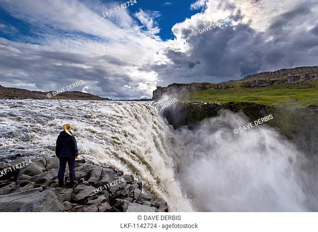 Waterfall, Dettifoss, Young Woman, Haze, Gorge, Iceland, Europe