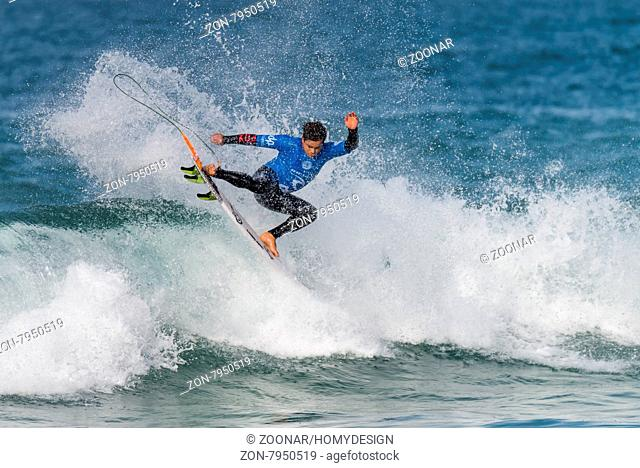 PENICHE, PORTUGAL - OCTOBER 23, 2015: Keanu Asing (HAW) during the Moche Rip Curl Pro Portugal, Men's Samsung Galaxy Championship Tour #10