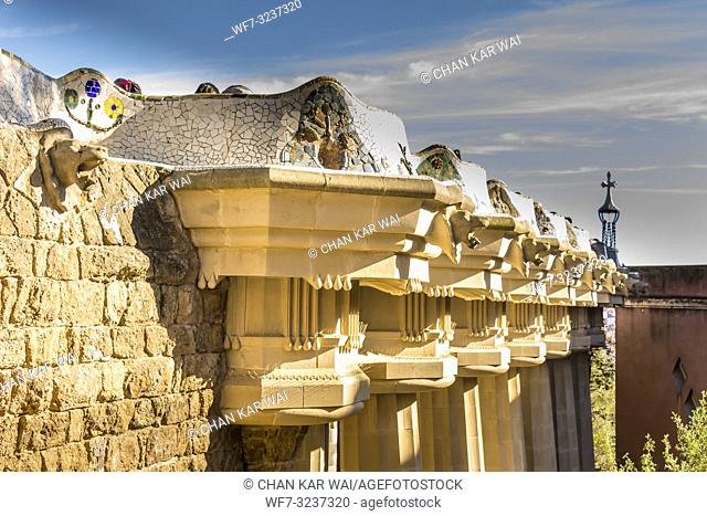 Barcelona - December 2018: Doric columns support the roof of Sala Hipostila , the central terrace, with sea serpent bench round its edge