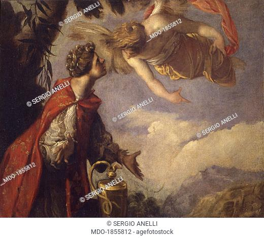 Hagar and the Angel, by Francesco Maffei, 17th century, oil on canvas. Italy, Lombardy, Milan, Castello Sforzesco, Museum of Ancient Art