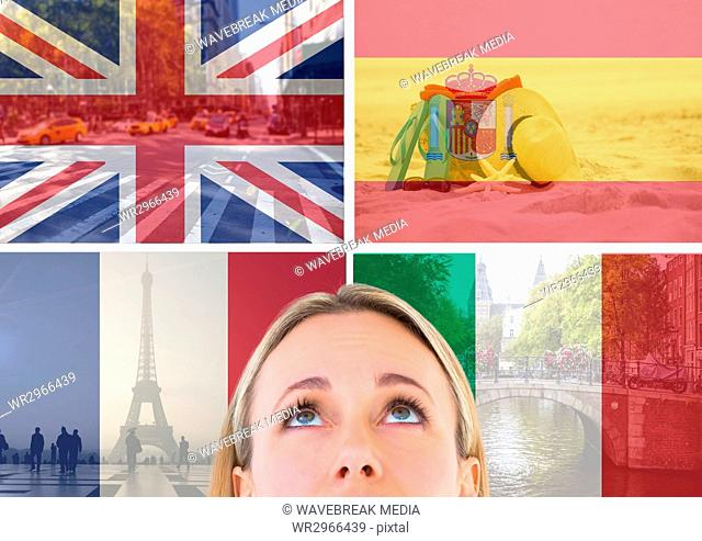 main language flags with opacity superimposed with country images around foreground of woman looking