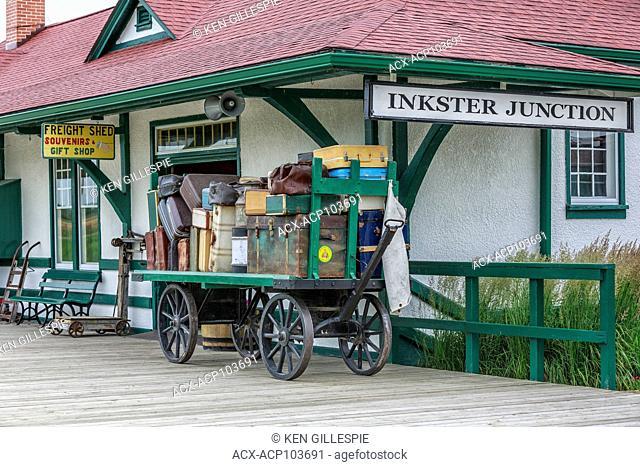 Luggage on a vintage cart, Inkster Junction Station, Prairie Dog Central Railway, Winnipeg, Manitoba, Canada