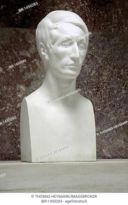 Bust of Carl Maria von Weber, Walhalla temple, Donaustauf, Bavaria, Germany, Europe