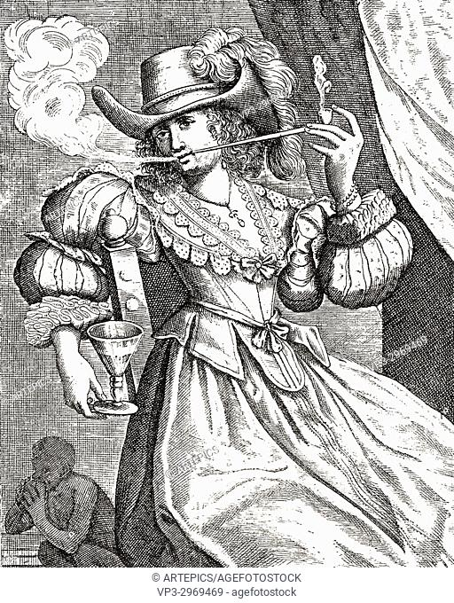 Young woman smoking a clay pipe and holding wine glass - 17th century engraving