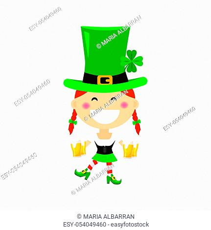 Saint Patricks day with girl in traditional dress and headgear. Ireland celebration festival irish and lucky theme. Flat vector illustration