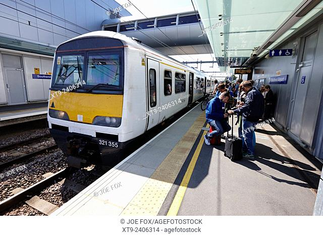train arriving at london Southend Airport train station Essex UK