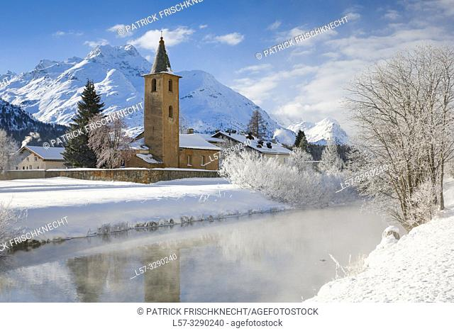 St. Lorenz church, Sils, Graubuenden, Switzerland
