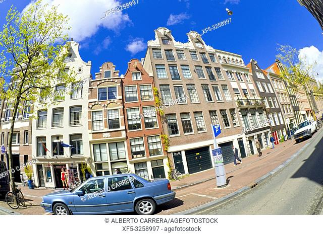 Street Scene, Traditional Architecture, Amsterdam, Holland, Netherlands, Europe