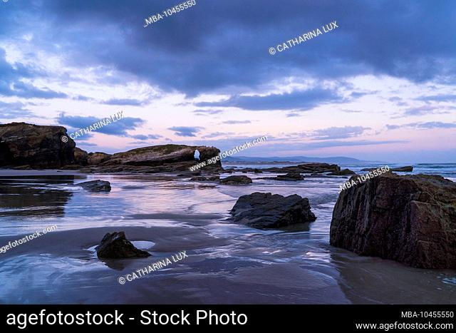 Spain, north coast, Galicia, national park, cathedral beach, Playa de las Catedrales, natural monument, evening mood