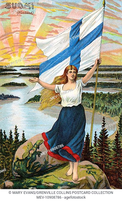 The Female Personification of Finland (Suomi), holding aloft the National Flag over the sun rising across the Finnish lakes
