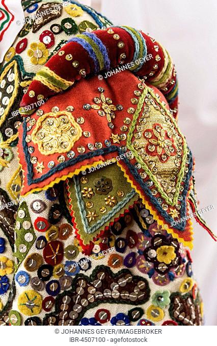 Ausseer Flinserl, costume with epaulette, sequins, different appliqué designs, Bad Aussee, Styria, Austria