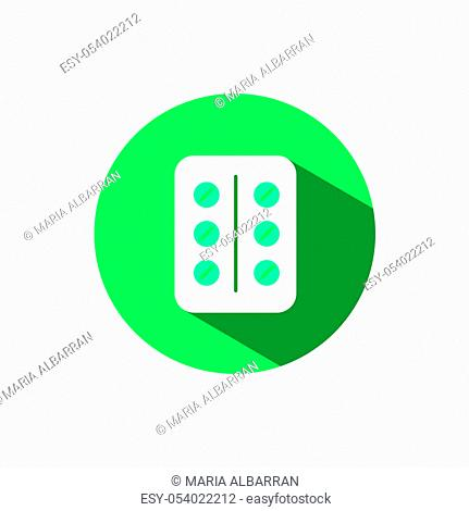 Pack of pills icon with shadow on a green circle. Flat color vector pharmacy illustration