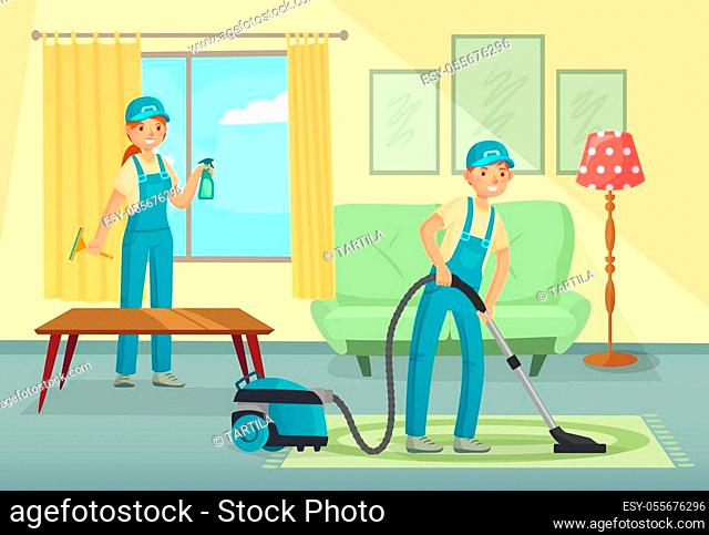 Professional cleaning workers cleaning living room. Man and woman characters, cleaning company staff vacuuming carpet, washing windows