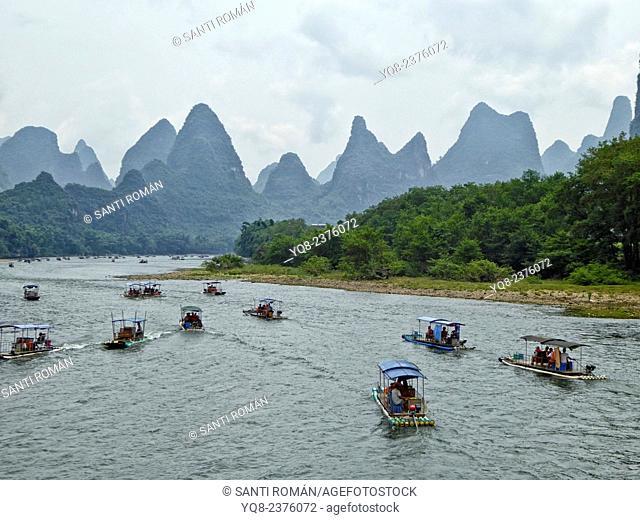 Boat on the Li River, Yangshuo county, Guilin, Guangxi Province, China