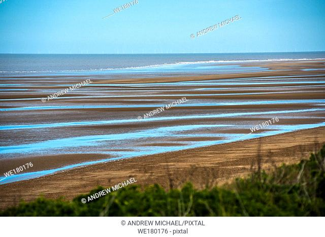 Old Hunstanton beach at low tide on North Norfolk coast, East Anglia, England, UK