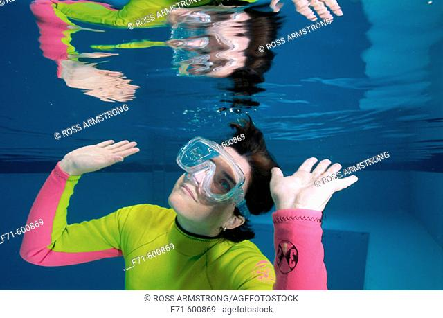 Snorkeller in swimming pool