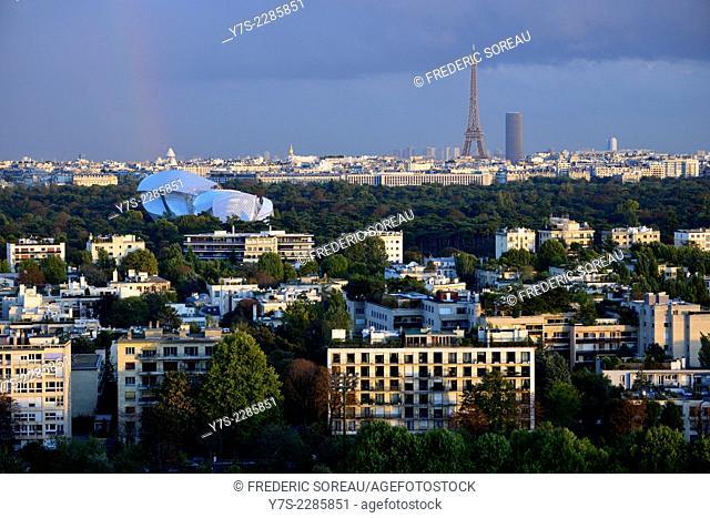 The Fondation Louis Vuitton dedicated to contemporary art exhibitions and Eiffel tower in Paris, Bois de Boulogne, France