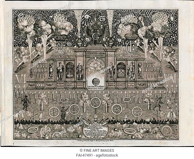 Fireworks for Charles VI on October 1, 1731 in Braunschweig by Schmidt, Johann Georg (1694-1767)/Copper engraving/Baroque/1731/Germany/Private Collection/Genre