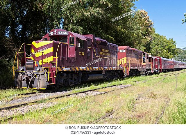 Diesel-Eletric locomotive engines of the Great Smokey Mountains Railroad in Bryson City, North Carolina