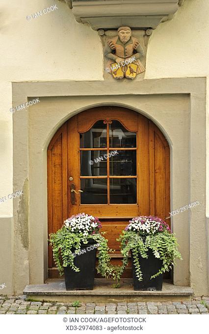 doorway with flowers, Lindau, Bavaria, Germany
