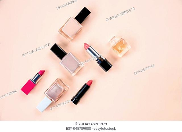 Pink cosmetic set. Isolated on white. Photo