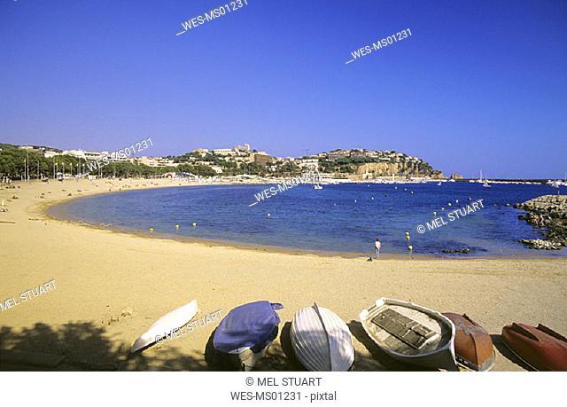 Sandy beach on coastline, Sant Feliu de Guixols, Costa Brava, Catalonia, Spain