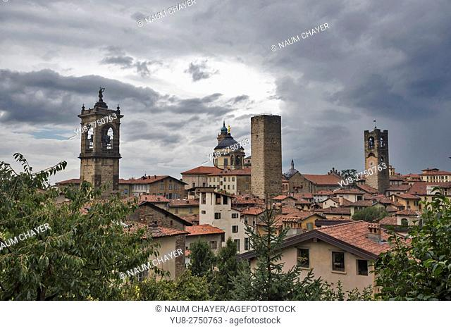 Red roofs, towers of High City, Città Alta on a rainy day, Bergamo, Italy, Europe