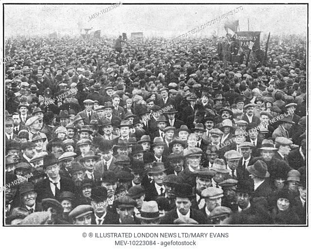 Labour's May Day in London: Listening to the open-air speaker in Hyde Park during the General Strike.  In support of a strike by coal miners over the issue of...