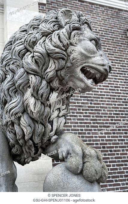 Lion Sculpture, Museum of Art Entrance, Bowdoin College, Brunswick, Maine, USA