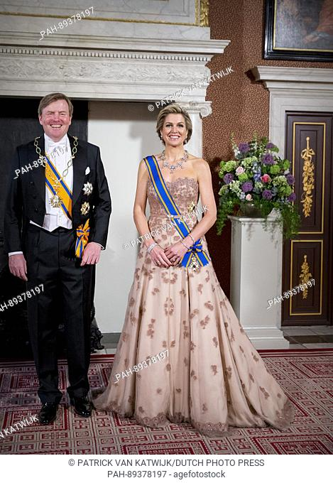 King Willem-Alexander and Queen Maxima of The Netherlands host an state banquet for President Maurico Macri and his wife Juliana Awada of Argentina visit The...