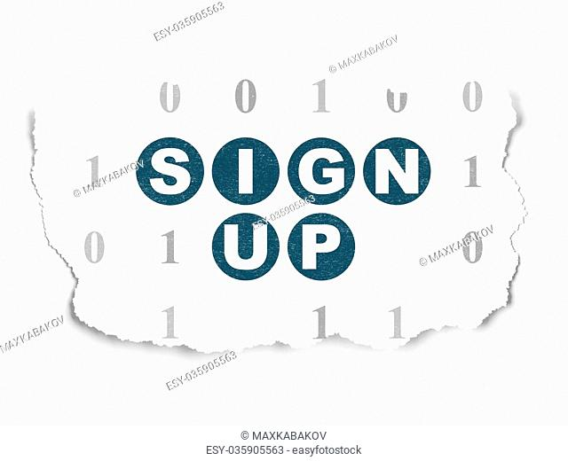 Web design concept: Sign Up on Torn Paper background