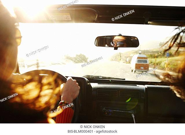 Hispanic woman on roadtrip