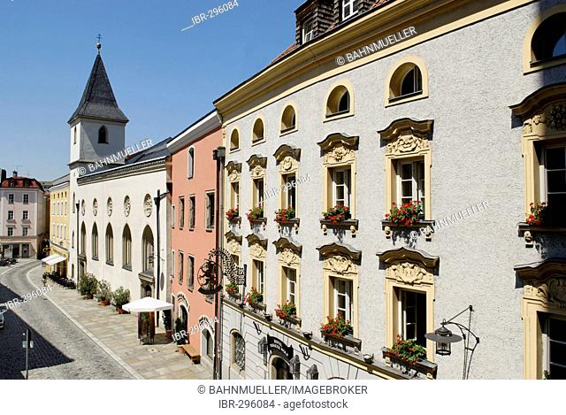 Passau Lower Bavaria Germany Rindermarkt with nursing home St Johannes