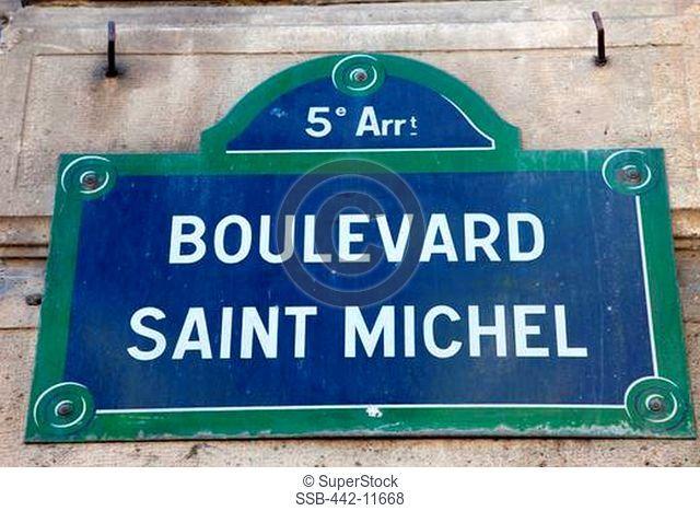 Close-up of a Boulevard Saint Michel street sign, Paris, Ile-de-France, France